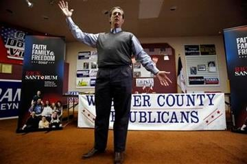 Republican presidential candidate, former Pennsylvania Sen. Rick Santorum speaks during a town hall meeting at the Fort Dodge GOP Headquarters, Tuesday, Dec. 27, 2011, in Fort Dodge, Iowa. (AP Photo/Charlie Neibergall) By Charlie Neibergall