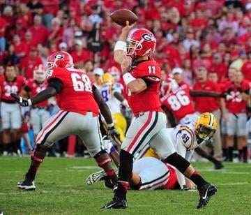 ATHENS, GA - SEPTEMBER 28: Aaron Murray #11 of the Georgia Bulldogs passes against the LSU Tigers at Sanford Stadium on September 28, 2013 in Athens, Georgia. (Photo by Scott Cunningham/Getty Images) By Scott Cunningham