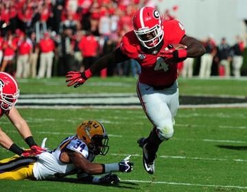 ATHENS, GA - SEPTEMBER 28: Keith Marshall #4 of the Georgia Bulldogs carries the ball against the LSU Tigers at Sanford Stadium on September 28, 2013 in Athens, Georgia. (Photo by Scott Cunningham/Getty Images) By Scott Cunningham