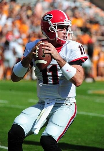 KNOXVILLE, TN - OCTOBER 5: Aaron Murray #11 of the Georgia Bulldogs warms up before the game against the Tennessee Volunteers at Neyland Stadium on October 5, 2013 in Knoxville, Tennessee. (Photo by Scott Cunningham/Getty Images) By Scott Cunningham