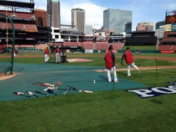 Photo from the Cardinals workout prior to Game 1 of the NLCS against the Dodgers, at Busch Stadium on October 11, 2013 (Brian Feldman, BaseballStL) By Bryce Moore