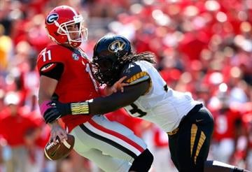 ATHENS, GA - OCTOBER 12:  Markus Golden #33 of the Missouri Tigers sackes Aaron Murray #11 of the Georgia Bulldogs at Sanford Stadium on October 12, 2013 in Athens, Georgia.  (Photo by Kevin C. Cox/Getty Images) By Kevin C. Cox