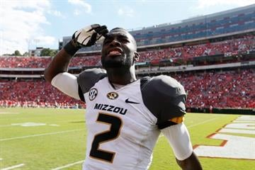 ATHENS, GA - OCTOBER 12:  L'Damian Washington #2 of the Missouri Tigers celebrates their 41-26 win over the Georgia Bulldogs at Sanford Stadium on October 12, 2013 in Athens, Georgia.  (Photo by Kevin C. Cox/Getty Images) By Kevin C. Cox