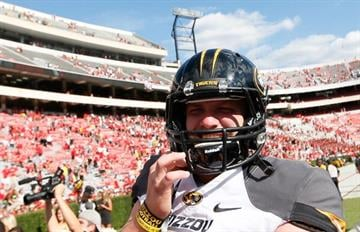 ATHENS, GA - OCTOBER 12:  Maty Mauk #7 of the Missouri Tigers celebrates their 41-26 win over the Georgia Bulldogs at Sanford Stadium on October 12, 2013 in Athens, Georgia.  (Photo by Kevin C. Cox/Getty Images) By Kevin C. Cox