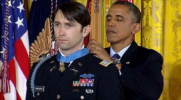Obama presents Afghan vet with Medal of Honor.  William D. Swenson, recognized for bravery in a battle against Taliban insurgents in 2009, now wants to return to active duty. By CBS News