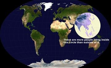 More people live inside of this circle than outside of it.
