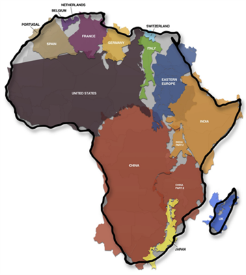 The African continent is so large that all of these large countries can fit inside of it.