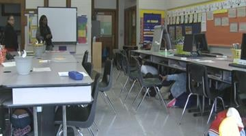 Students at Patrick Henry Elementary participate in Thursday's earthquake drill. By Brendan Marks