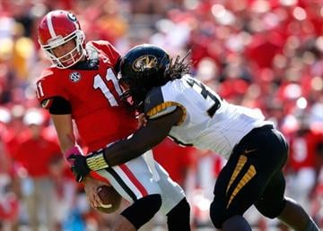 ATHENS, GA - OCTOBER 12:  Markus Golden #33 of the Missouri Tigers sacks Aaron Murray #11 of the Georgia Bulldogs at Sanford Stadium on October 12, 2013 in Athens, Georgia.  (Photo by Kevin C. Cox/Getty Images) By Kevin C. Cox