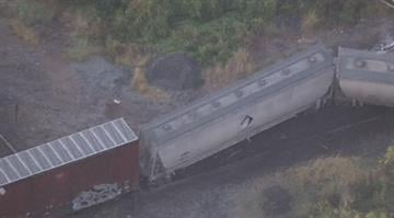 More than a half dozen train cars were scattered along the tracks after the incident happened near Main St. just west of Smithboro around 7 a.m. By Brendan Marks