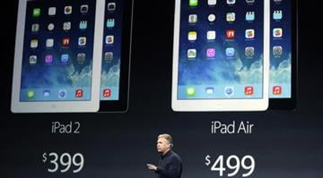 Apple unveils thinner, lighter iPad.  The company's market chief says the iPad Air is eight times faster than the original and it weighs just 1 pound. By Carlos Otero
