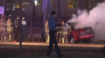 Police say a suspect is dead after after opening fire on police following a fiery high-speed crash in north St. Louis County early Thursday morning. By Brendan Marks