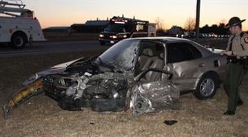 Waterloo fire, Monroe County EMS and the Monroe County Sheriff's Department assisted Illinois State Police with a two-car, head-on crash on Route 156 just east of Waterloo around 5:30 p.m. Thursday. (Kermit Constantine photo)