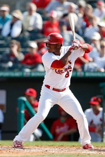 JUPITER, FL - FEBRUARY 28: Oscar Taveras #87 of the St. Louis Cardinals at bat against the Miami Marlins at the Roger Dean Stadium on February 28, 2013 in Jupiter, Florida.  (Photo by Chris Trotman/Getty Images) By Chris Trotman