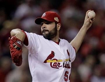St. Louis Cardinals starting pitcher Jaime Garcia throws during the first inning of Game 2 of baseball's against the Texas Rangers World Series Thursday, Oct. 20, 2011, in St. Louis. (AP Photo/Charlie Riedel) By Charlie Riedel