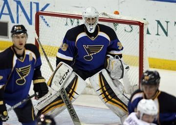 St. Louis Blues goaltender Ryan Miller keeps an eye on the action against the Tampa Bay Lightning in the first period at the Scottrade Center in St. Louis on March 4, 2014.  UPI/Bill Greenblatt By BILL GREENBLATT