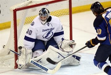 Tampa Bay Lightning goaltender Ben Bishop knocks the puck away with his glove on a shot by St. Louis Blues Brenden Morrow in the first period at the Scottrade Center in St. Louis on March 4, 2014.  UPI/Bill Greenblatt By BILL GREENBLATT