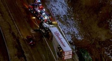 The truck wrecked on westbound Interstate 55/70 just west of the merger with Interstate 64 around 5:40 a.m. By Brendan Marks