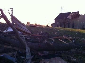 Damage after Tornado in New Minden, Ill. By Mike Colombo