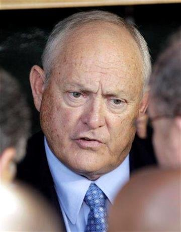Texas Rangers president Nolan Ryan responds to a question before Game 3 of baseball's American League championship series against the Detroit Tigers, Tuesday, Oct. 11, 2011, in Detroit. (AP Photo/Paul Sancya) By Paul Sancya