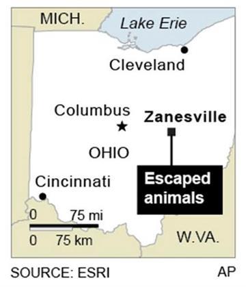 Map locates Zanesville, Ohio By F. Duckett