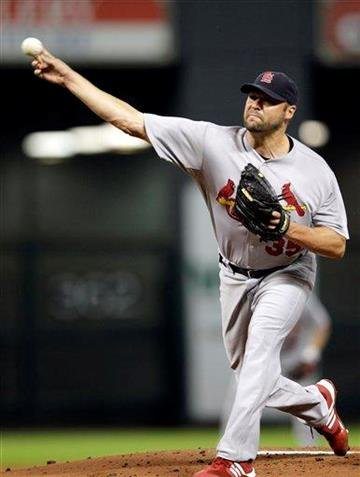St. Louis Cardinals starting pitcher Jake Westbrook throws during the first inning of a baseball game against the Houston Astros on Tuesday, Sept. 27, 2011, in Houston. (AP Photo/David J. Phillip) By David J. Phillip