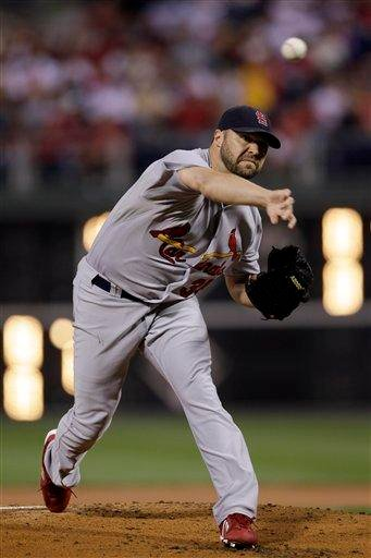 St. Louis Cardinals' Jake Westbrook pitches during the first inning of a baseball game against the Philadelphia Phillies, Saturday, Sept. 17, 2011, in Philadelphia. (AP Photo/Matt Slocum) By Matt Slocum