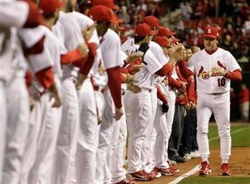 St. Louis Cardinals manager Tony La Russa is introduced before Game 1 of baseball's World Series against the Texas Rangers Wednesday, Oct. 19, 2011, in St. Louis. (AP Photo/Paul Sancya) By Paul Sancya
