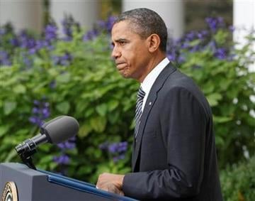 President Barack Obama speaks in the Rose Garden of the White House in Washington, Thursday, Oct. 20,2011, to discuss the death of Libyan leader Moammar Gadhafi.  (AP Photo/Charles Dharapak) By Charles Dharapak