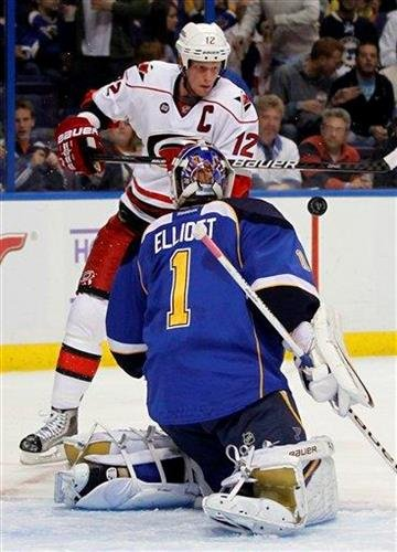 Carolina Hurricanes' Eric Staal (12) tries to get his stick on a puck as St. Louis Blues goalie Brian Elliott defends during the first period of an NHL hockey game Friday, Oct. 21, 2011, in St. Louis. (AP Photo/Jeff Roberson) By Jeff Roberson