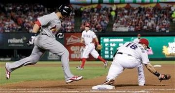 Texas Rangers' Mitch Moreland takes the throw as St. Louis Cardinals' Jon Jay is out at first during the sixth inning of Game 4 of baseball's World Series Sunday, Oct. 23, 2011, in Arlington, Texas. (AP Photo/Charlie Riedel) By Charlie Riedel