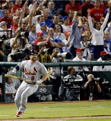 St. Louis Cardinals' Nick Punto reacts after flying out during the second inning of Game 5 of baseball's World Series against the Texas Rangers, Monday, Oct. 24, 2011, in Arlington, Texas. (AP Photo/Eric Gay) By Eric Gay