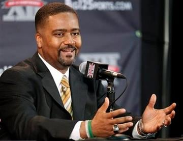 Missouri coach Frank Haith answers a question during the Big 12 basketball media day Thursday, Oct. 20, 2011, in Kansas City, Mo. (AP Photo/Orlin Wagner) By Orlin Wagner