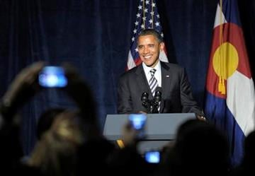 President Barack Obama speaks at a campaign event at the Pepsi Center in Denver, Tuesday, Oct. 25, 2011. Obama is on a three-day trip to the West Coast. (AP Photo/Susan Walsh) By Susan Walsh