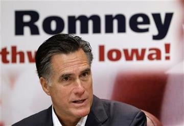 Republican presidential candidate, former Massachusetts Gov. Mitt Romney speaks during an economic roundtable at the Treynor State Bank, Thursday, Oct. 20, 2011, in Treynor, Iowa. (AP Photo/Charlie Neibergall) By Charlie Neibergall
