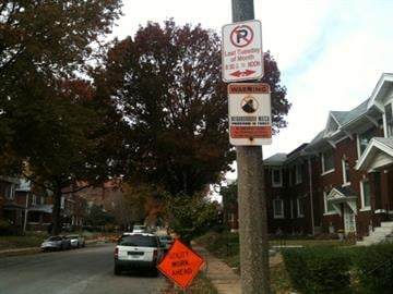 This October 27, 2011 photo shows the the 4900 block of Highland where drivers were ticketed for parking during street sweeping days despite having nowhere else to park due to work being done on the street. By KMOV Web Producer