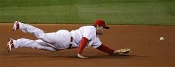 St. Louis Cardinals' David Freese can't come up with a hit by Texas Rangers' Ian Kinsler during the sixth inning of Game 2 of baseball's World Series Thursday, Oct. 20, 2011, in St. Louis. (AP Photo/Eric Gay) By Eric Gay