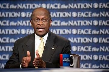 """In this photo provided by CBS News, Republican presidential candidate Herman Cain appears on CBS's """"Face the Nation"""" in Washington Sunday, Oct. 30, 2011. (AP Photo/CBS News, Chris Usher) By Chris Usher"""