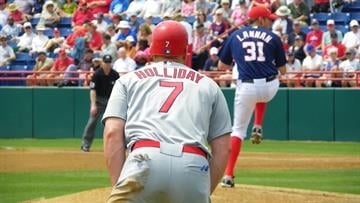 Matt Holliday takes a lead off of third base as Nationals pitcher John Lannan delivers in the first inning of Friday's game featuring the Cardinals and the Washington Nationals. (Brendan Marks/KMOV) By Lakisha Jackson