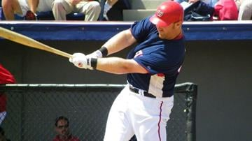 Nationals first baseman Adam Dunn takes a swing in his first at-bat of Friday's game featuring the Cardinals and the Washington Nationals. (Brendan Marks/KMOV) By Lakisha Jackson