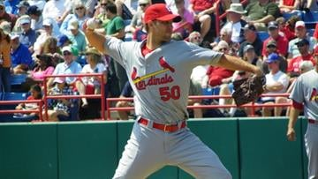 Cardinals pitcher Adam Wainwright delivers a ball to the plate in the first inning of Friday's game featuring the Cardinals and the Washington Nationals. (Brendan Marks/KMOV) By Lakisha Jackson