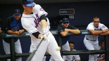 Jason Bay hits the ball in his first at-bat during Sunday's game between the Cardinals and the Mets By Lakisha Jackson