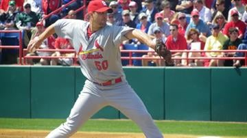 Cardinals Starting pitcher Adam Wainwright throws a pitch in the first inning of Sunday's game featuring the Cardinals against the Washington Nationals By Lakisha Jackson