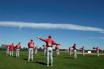 Members of the St. Louis Cardinals warm up on the first official workout day for pitchers and catchers during spring training baseball Thursday, Feb. 18, 2010, in Jupiter, Fla. (AP Photo/Jeff Roberson) By Jeff Roberson