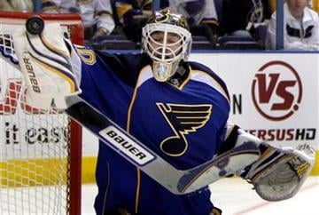 St. Louis Blues goalie Chris Mason stops a shot during the first period of an NHL hockey game against the Chicago Blackhawks on Tuesday, March 30, 2010, in St. Louis. (AP Photo/Jeff Roberson) By Jeff Roberson