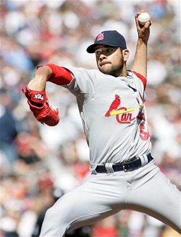 St. Louis Cardinals starting pitcher Jaime Garcia throws in the third inning against the Minnesota Twins at Target Field during baseball action in Minneapolis Saturday, April 3, 2010.(AP Photo/Andy King) By Andy King
