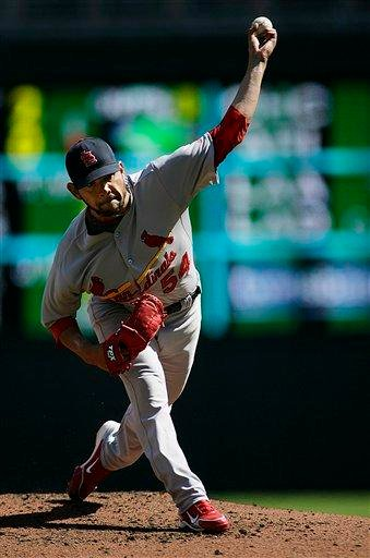 St. Louis Cardinals starting pitcher Jaime Garcia throws in the first inning against the Minnesota Twins at Target Field during baseball action in Minneapolis Saturday, April 3, 2010.(AP Photo/Andy King) By Andy King