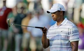 Tiger Woods lines up a putt on the sixth green during a practice round for the Masters golf tournament in Augusta, Ga., Monday, April 5, 2010. The tournament begins Thursday, April, 8. (AP Photo/Chris O'Meara) By Chris O'Meara