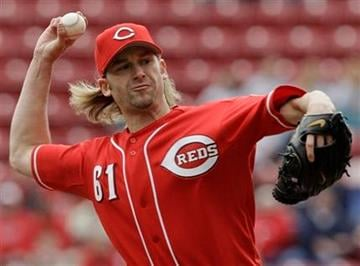 Cincinnati Reds starting pitcher Bronson Arroyo pitches against the St. Louis Cardinals in the first inning of a baseball game, Thursday, April 8, 2010, in Cincinnati. Cincinnati won the game 2-1. (AP Photo/Al Behrman) By Al Behrman
