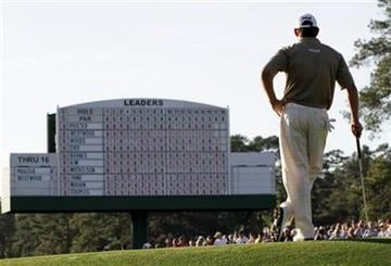 Lee Westwood of England waits to putt on the 17th green during the third round of the Masters golf tournament in Augusta, Ga., Saturday, April 10, 2010. (AP Photo/Morry Gash) By Morry Gash